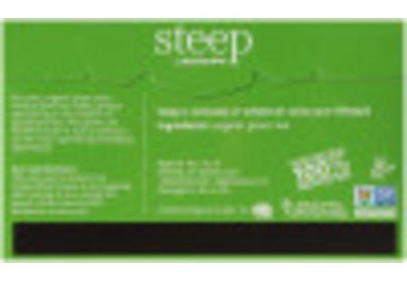 Back of steep by Bigelow Organic Pure Green Tea box of 20 tea bags - Ingredient list