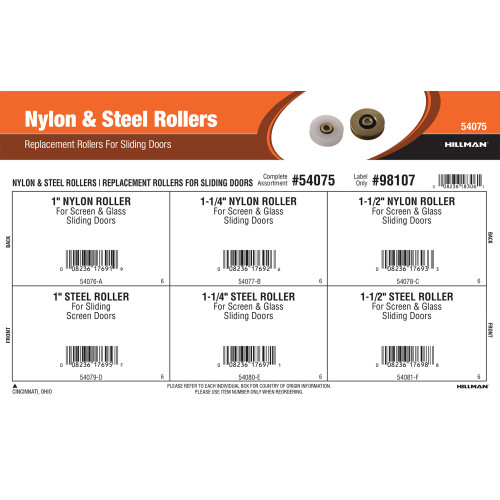 Nylon & Steel Rollers Assortment (Replacement Rollers for Sliding Doors)