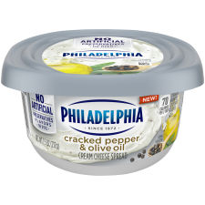 Philadelphia Cracked Pepper & Olive Oil Cream Cheese Spread, 7.5 oz Tub