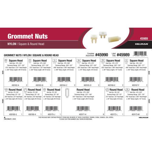 Nylon Grommet Nuts Assortment (Square & Round Head)