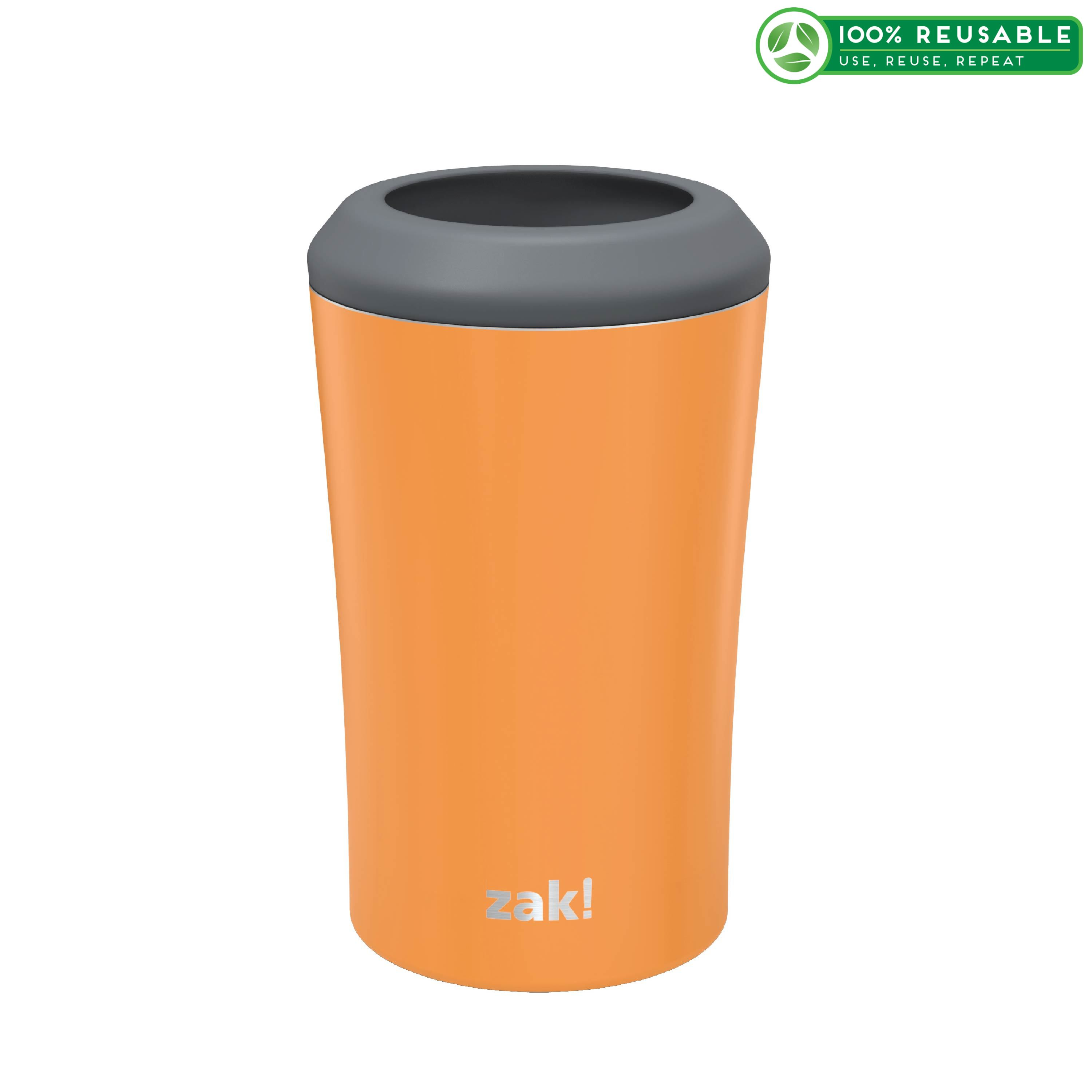 Zak Hydration 12 ounce Double Wall Stainless Steel Can and Bottle Cooler with Vacuum Insulation, Tangerine slideshow image 1