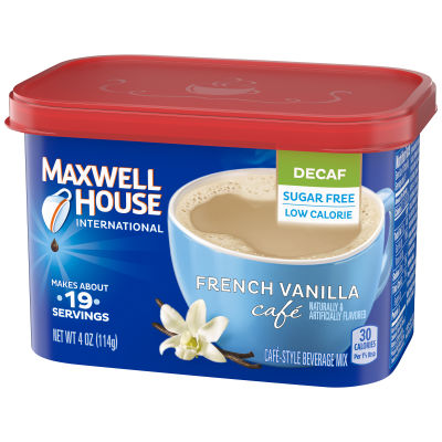 Maxwell House International Sugar-Free, Decaf French Vanilla, Beverage Mix, 4 oz Canister