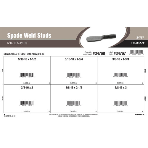 Spade Weld Studs (5/16