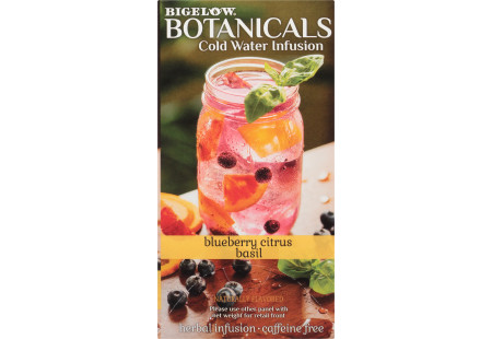 Right side panel of Bigelow Botanicals Blueberry Citrus Basil Cold Water Infusion Box