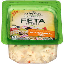 Athenos Crumbled Mediterranean Herb Feta Cheese 4 oz Blister Pack