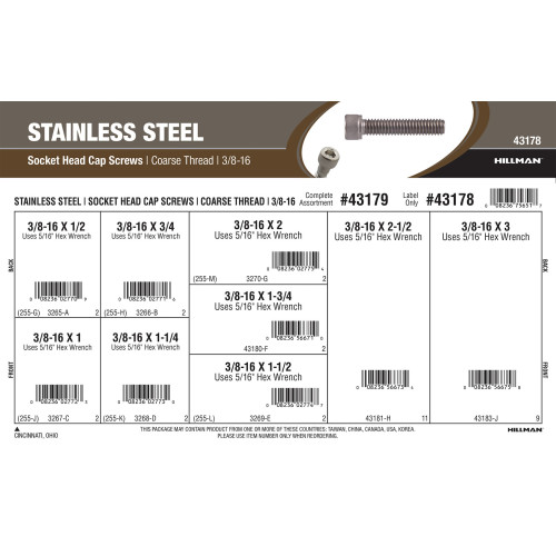 Stainless Steel Socket-Head Cap Screws Assortment (3/8