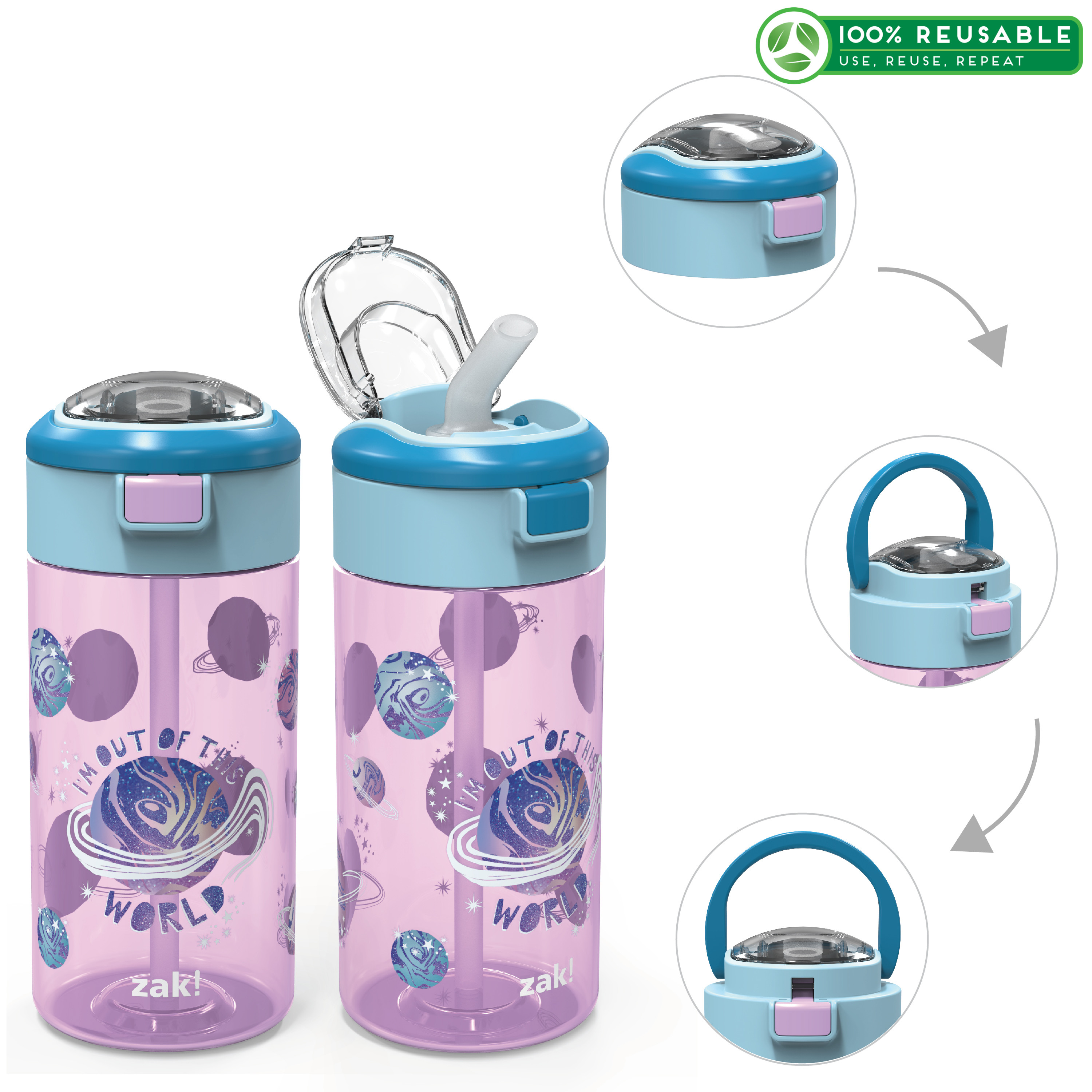 Genesis 18 ounce Water Bottles, Planet, 2-piece set slideshow image 1
