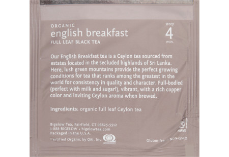 steep cafe by Bigelow organic full leaf english breakfast black tea pyramid bag in overwrap - Ingredient list