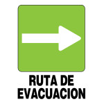 """Spanish Evacuation Route to the Right Sign (5"""" x 7"""")"""