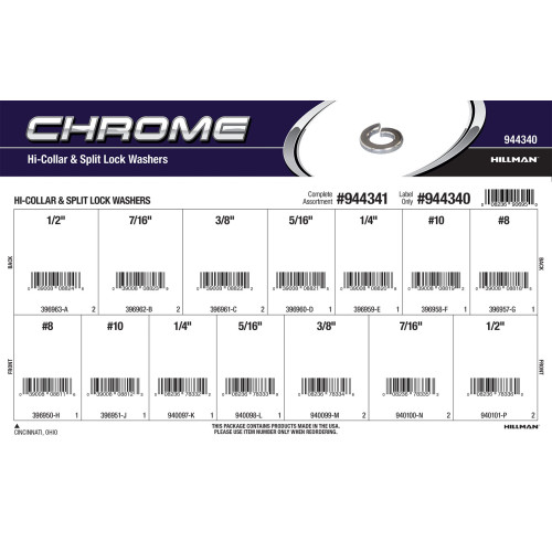 Chrome Hi-Collar & Split Lock Washers Assortment