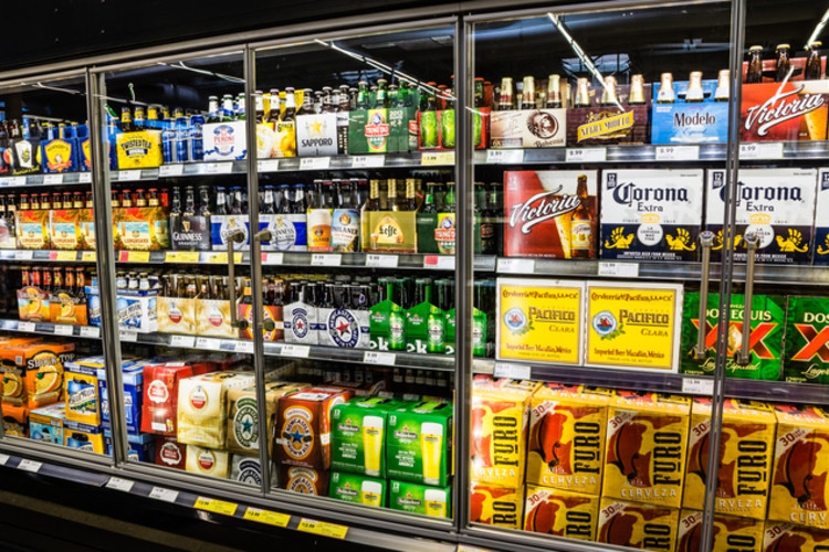 Well lit grocery items in French door refrigerator
