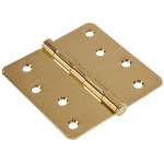 "Hardware Essentials 1/4"" Round Corner Brass Door Hinges (4"")"