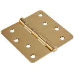 "Hardware Essentials 1/4"" Round Corner Brass Door Hinges (4"")"