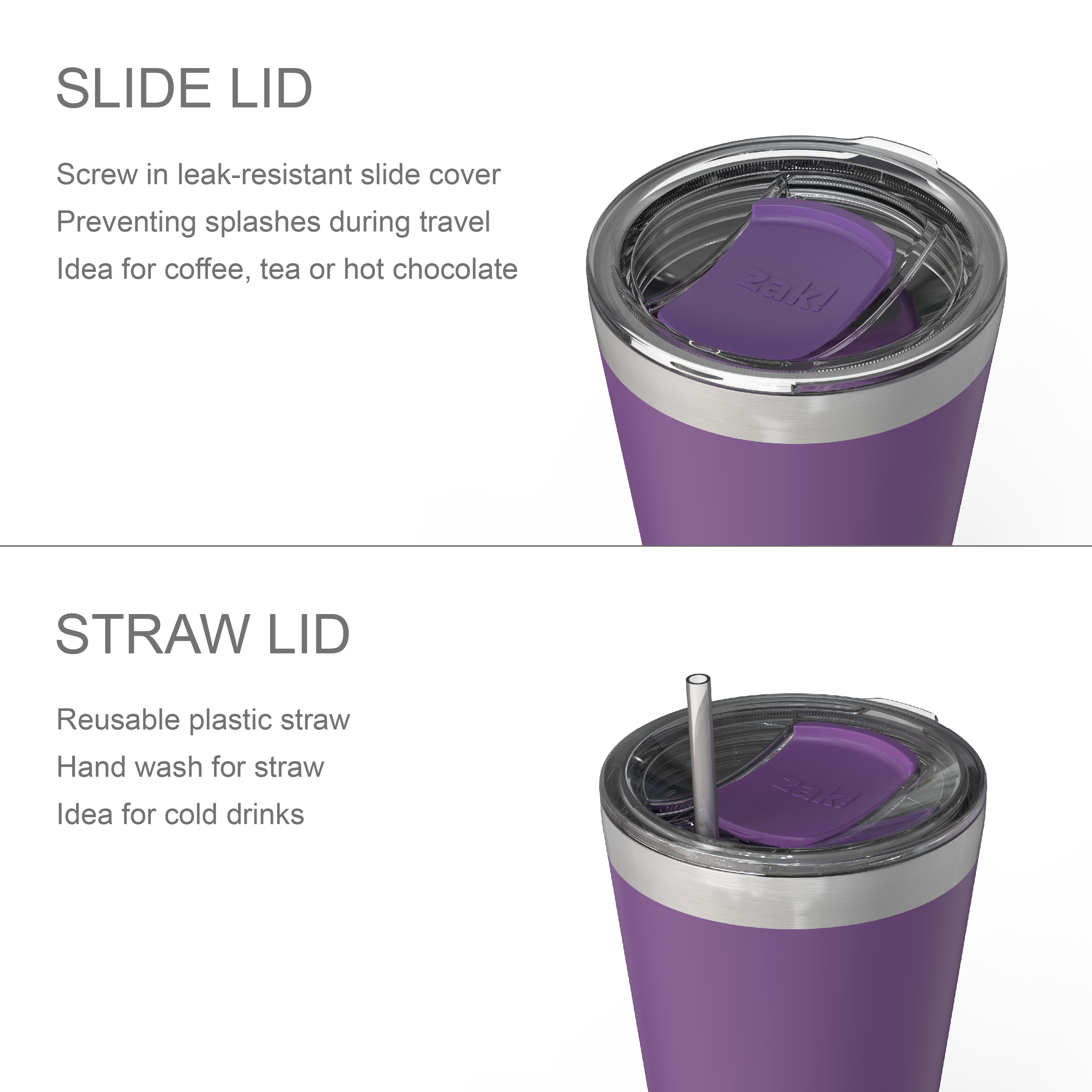 Zak Hydration 20 ounce Reusable Vacuum Insulated Stainless Steel Tumbler with Straw, Viola slideshow image 4