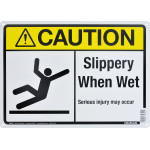 "Aluminum Slippery When Wet Caution Sign 10"" x 14"""