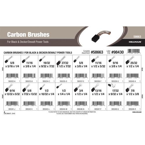 Carbon Brushes Assortment (For Black & Decker and Dewalt Power Tools)