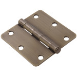 "Hardware Essentials 1/4"" Round Corner Antique Brass Door Hinges (3-1/2"")"