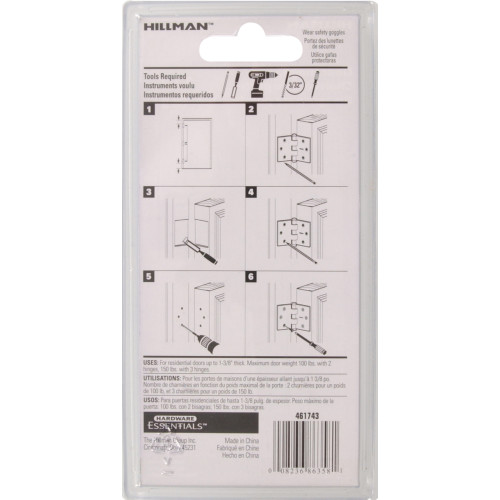 Hardware Essentials Square Corner Satin Nickel Door Hinges (3-1/2