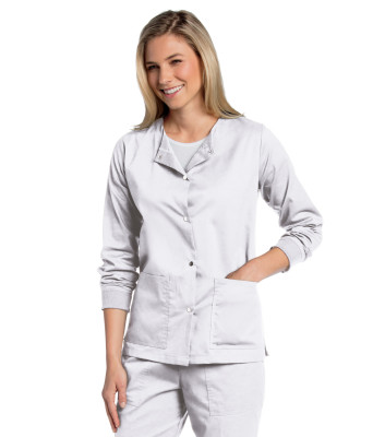Landau All Day Snap Front,2 Pocket, Scrub Jacket for Women: Modern Tailored Fit, Stretch, Medical Scrub Jacket 3507-