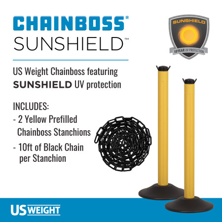 ChainBoss Stanchion - Yellow Filled with Black Chain 2