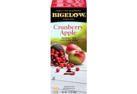 Left facing image of Cranberry Apple Herbal Tea Box of 28 tea bags