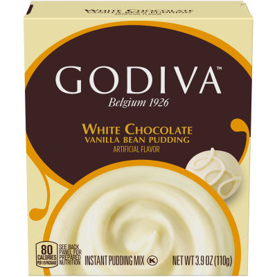 Godiva White Chocolate Vanillla Bean Instant Pudding Mix, 3.9 oz Box