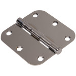 "Hardware Essentials 5/8"" Chrome Round Corner Residential Door Hinges with Removable Pin"