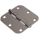 """Hardware Essentials 5/8"""" Round Corner Chrome Door Hinges (3-1/2"""")"""