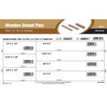 """Fluted Wooden Dowel Pins Assortment (1/4"""" thru 1/2"""")"""