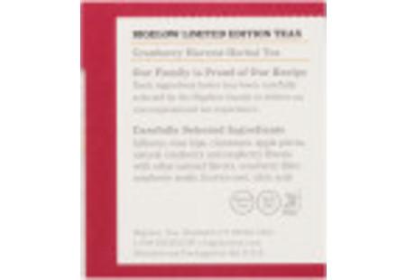 Ingredient panel of Cranberry Harvest Herbal Tea box