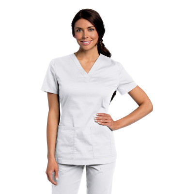 Landau All Day Stretch, 2 Pocket Scrub Top for Women - V-Neck, Modern Tailored Fit, Medical Scrubs 4143-Landau