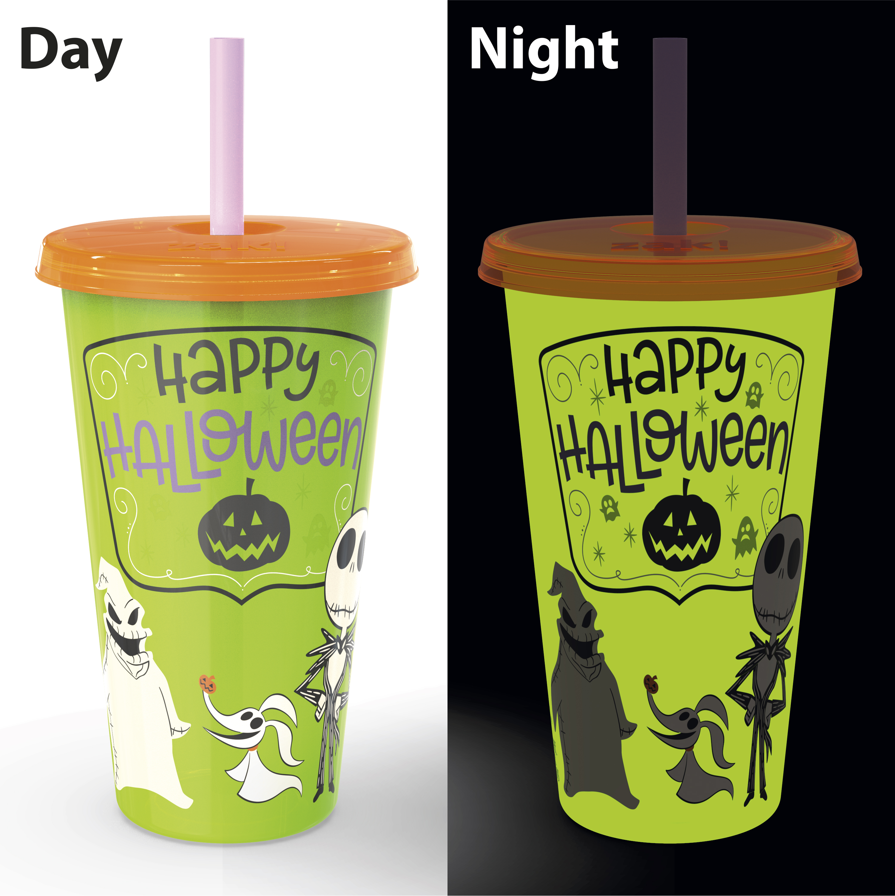 The Nightmare Before Christmas 24 ounce Reusable Plastic Kids Tumbler, Jack Skellington, Oogie Boogie & Zero, 4-piece set slideshow image 5