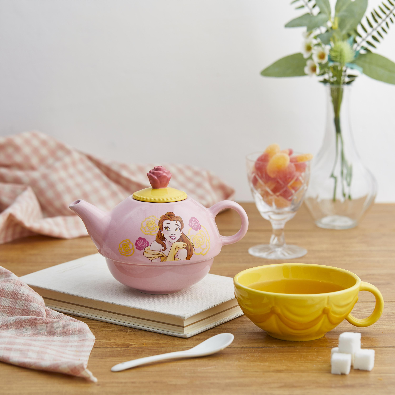Disney Princess Sculpted Ceramic Tea Set, Princess Belle, 4-piece set slideshow image 5