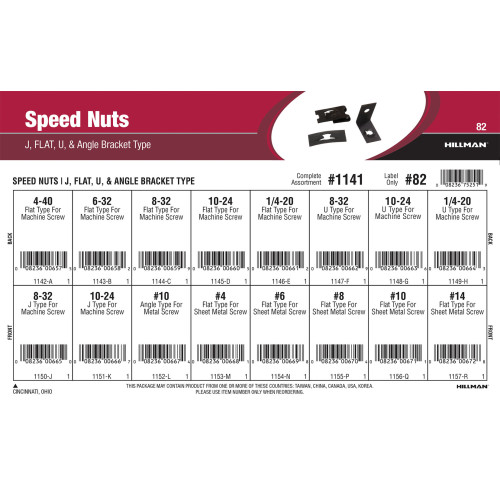 Speed Nuts Assortment (J, Flat, U, & Angle Bracket Type)
