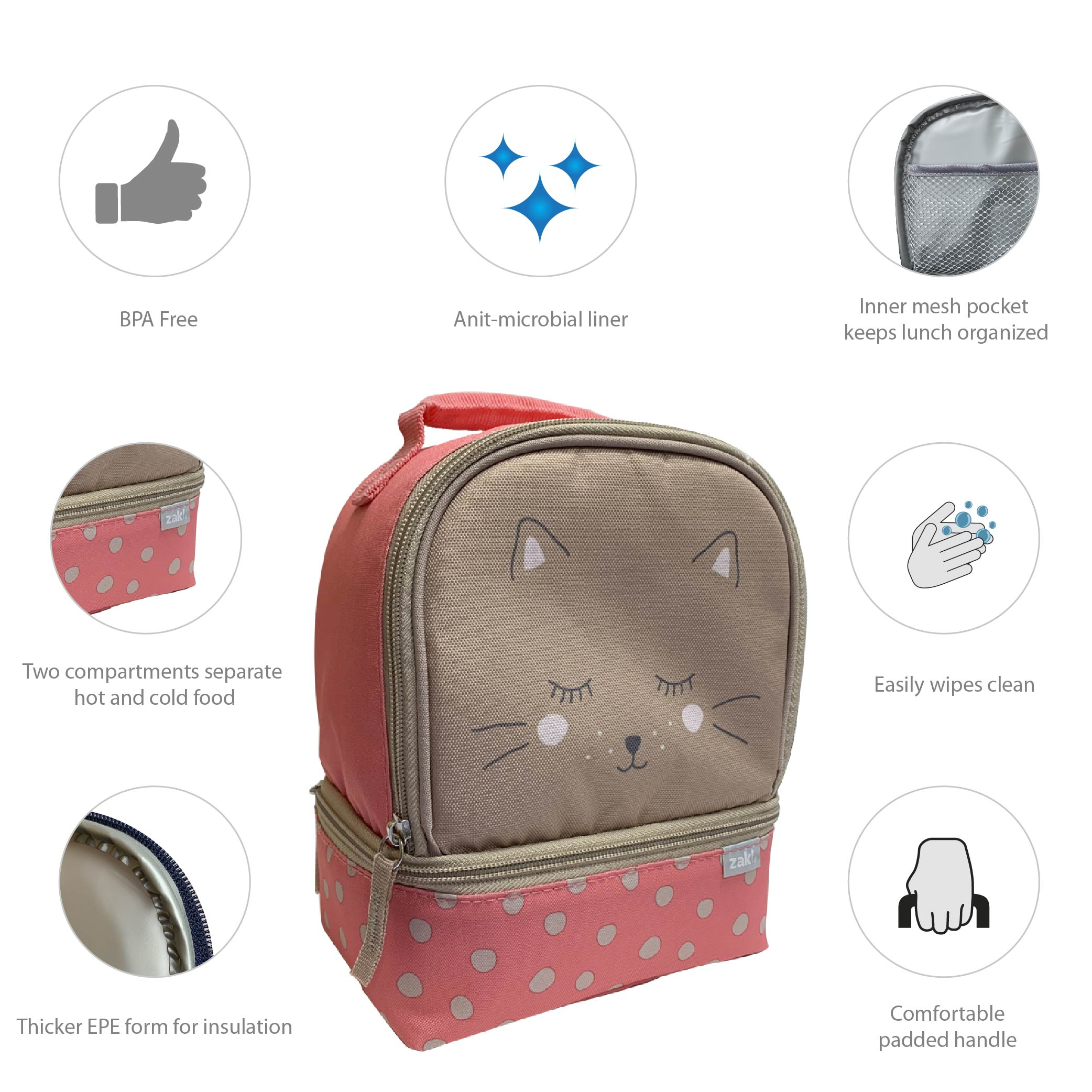 Soft Lines 2-compartment Reusable Insulated Lunch Bag, Kitties slideshow image 4
