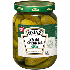 Heinz Sweet Midget Gherkins Pickle, 12 - 10 fl oz Jars image