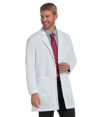 Landau 3 Pocket Lab Coat for Men - Classic Relaxed Fit, 4 Button, Mid Length, Stitched Back Belt 3148-