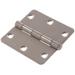 "Hardware Essentials 1/4"" Round Corner Stainless Steel Door Hinges (3-1/2"")"