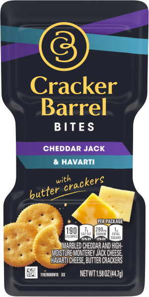 Cracker Barrel Bites, Cheddar Jack & Havarti with Butter Crackers, 1.58 oz Tray
