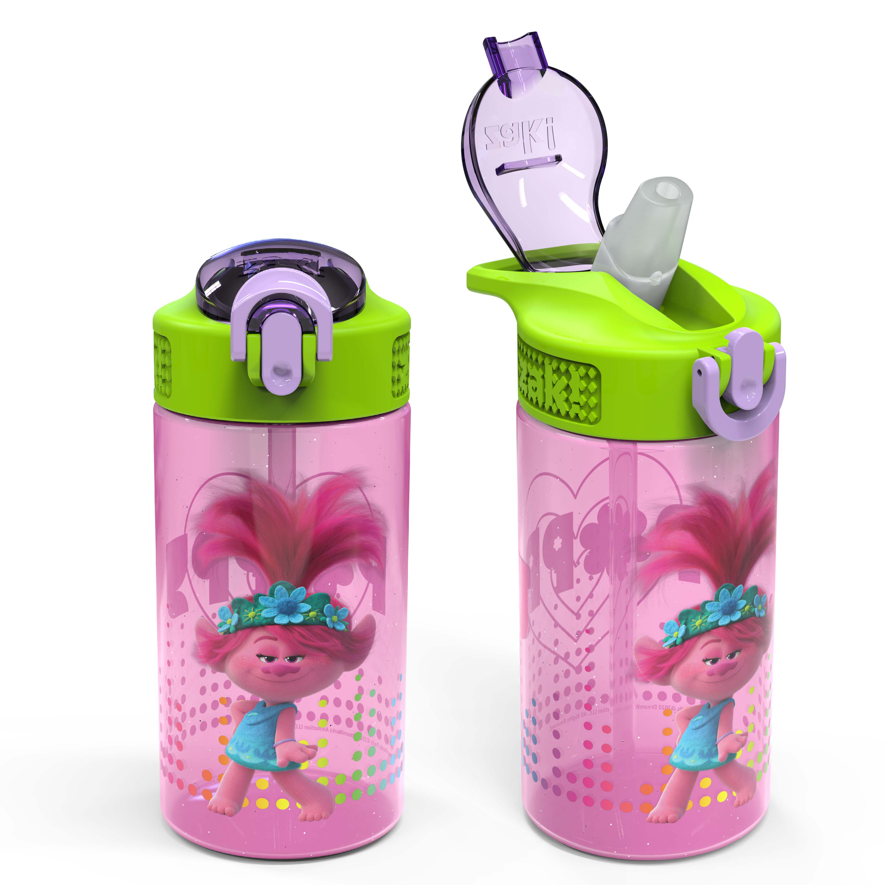 Trolls 2 Movie 16 ounce Reusable Plastic Water Bottle with Straw, Poppy, 2-piece set slideshow image 1
