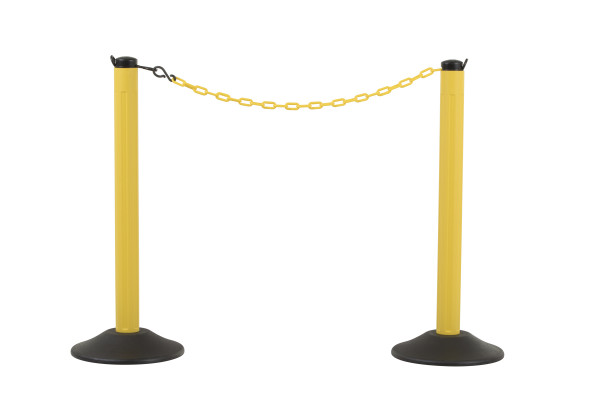 ChainBoss Stanchion - Yellow Empty  with Yellow Chain 1
