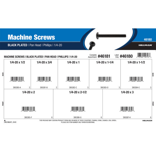 Phillips Pan-Head Black Machine Screws Assortment (1/4
