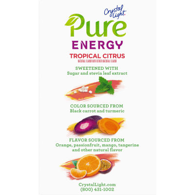 Crystal Light Pure Energy Tropical Citrus Drink Mix with Caffeine and B Vitamins, 6 - 0.29 oz Packets