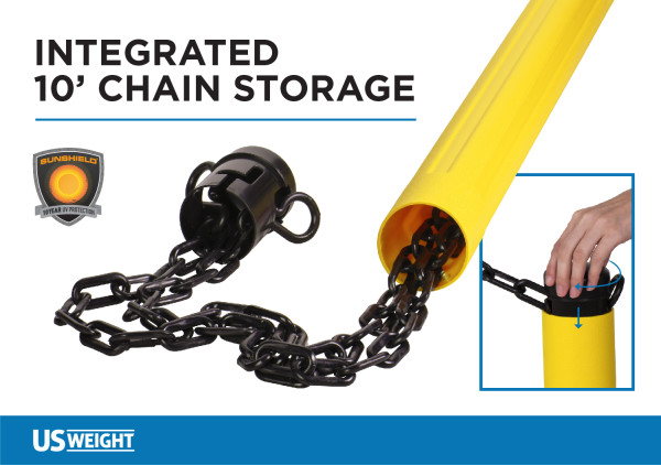 ChainBoss Stanchion - Black Filled with Yellow Chain 4