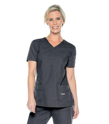 Landau Essentials 4 Pocket Scrub Top for Women: Modern Tailored Fit, V-Neck Durable 8111-