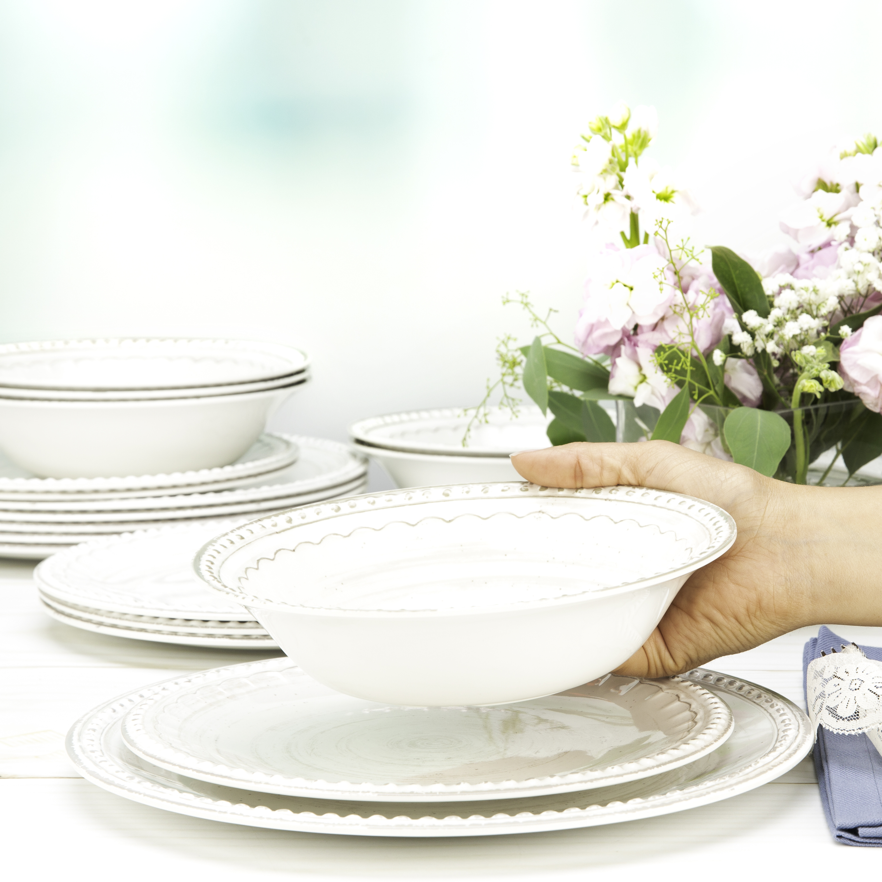 French Country Plate & Bowl Sets, White, 12-piece set slideshow image 8