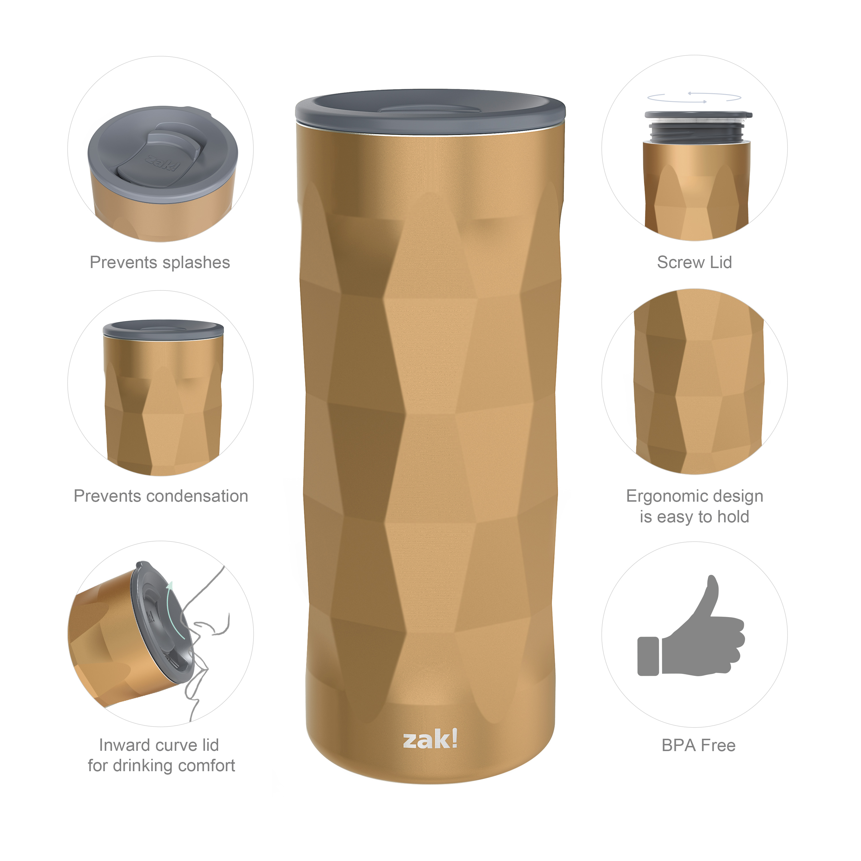 Fractal 16 ounce Vacuum Insulated Stainless Steel Tumbler, Copper slideshow image 8