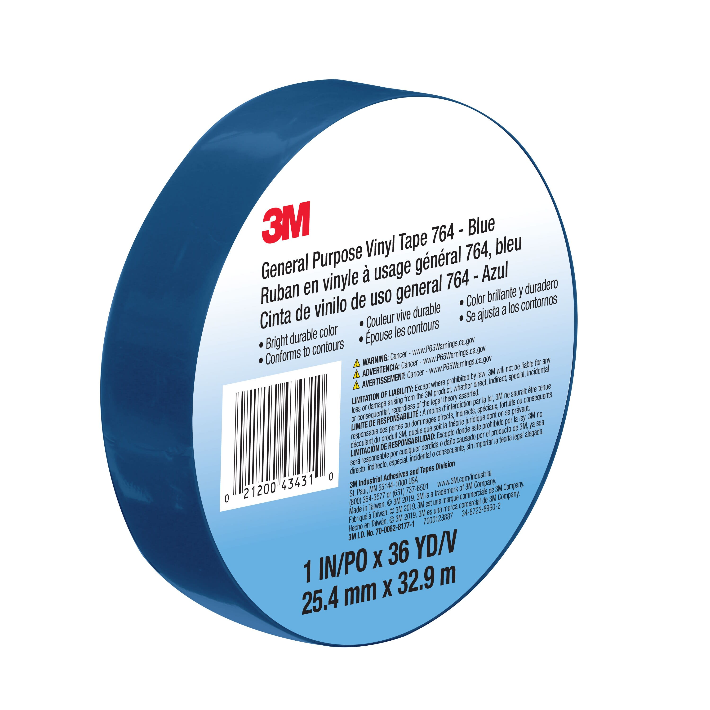 3M™ General Purpose Vinyl Tape 764, Blue, 1 in x 36 yd, 5 mil, 36 Roll/Case, Individually Wrapped Conveniently Packaged