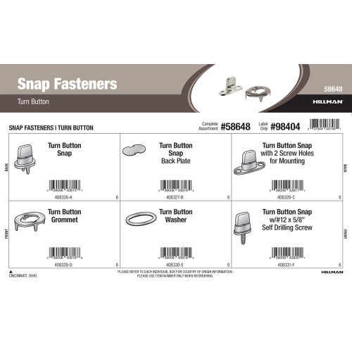 Turn Button Snap Fasteners Assortment