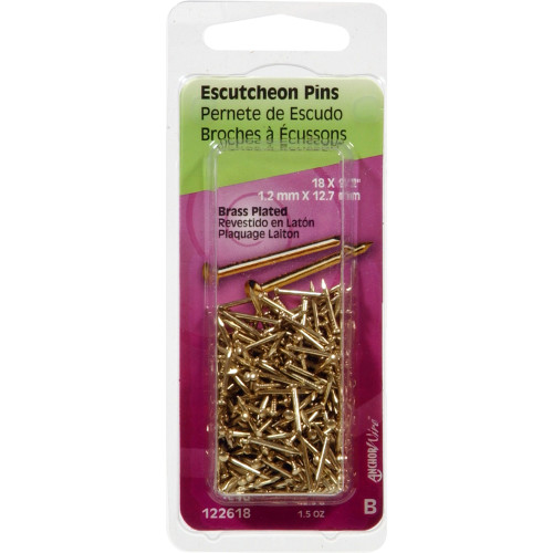 Brass-Plated Escutcheon Pins 1/2
